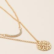 Gold Pave and Medallion Necklaces, 2-Pack