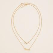 Gold Love and Infinity Necklaces, 2-Pack