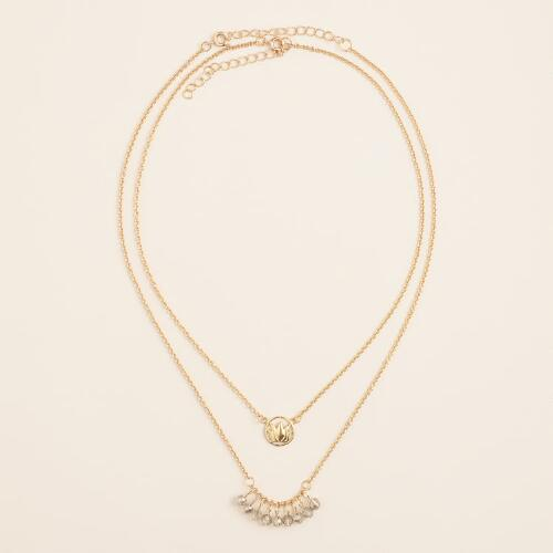 Gold Stationary Stones and Lotus Necklaces, 2-Pack