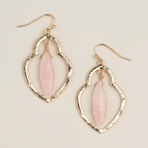 Rose Quartz Gold Dangle Earrings