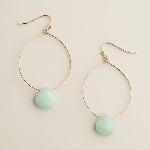 Serpentine Drop Gold Hoop Earrings