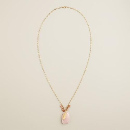 Blush Stationary Pendant Gold Charm Necklace