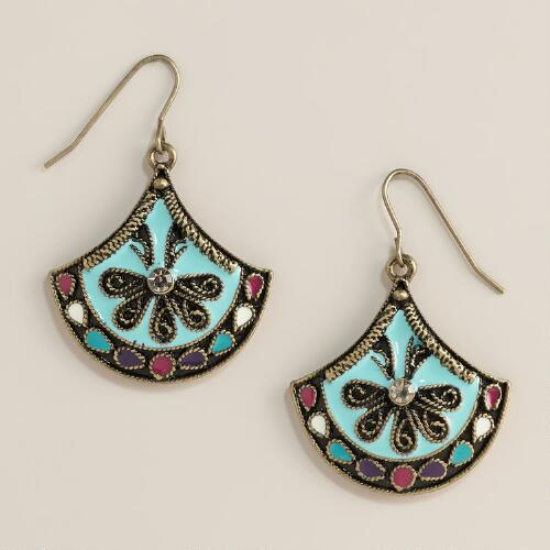 Turquoise Enamel Drop Earrings