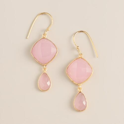 Gold and Rose Quartz Double Drop Earrings