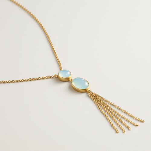 Aqua Stone with Tassel Gold Necklace