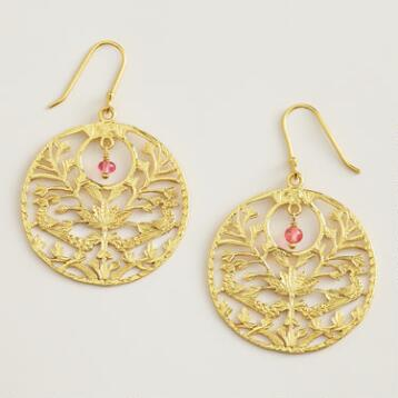 Gold Bird Filigree Hoop Earrings
