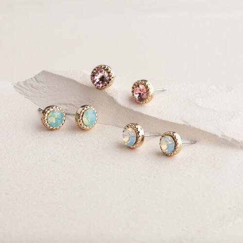 Gold Swarovski Trio Stud Earrings