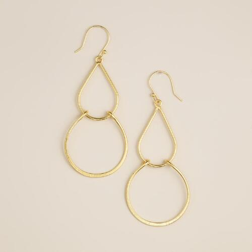 Hammered Gold Double Dangle Earrings