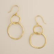 Hammered Gold Circles Dangle Earrings