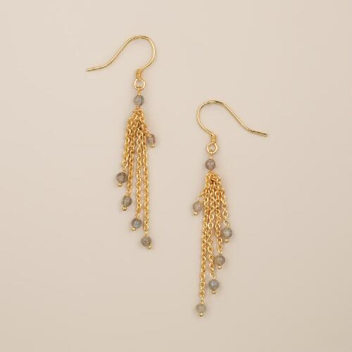 Gold and Labradorite Dangle Earrings