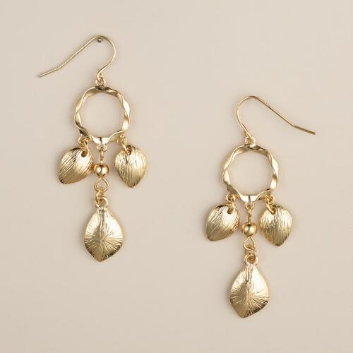 Gold Hammered Leaf Dangle Earrings