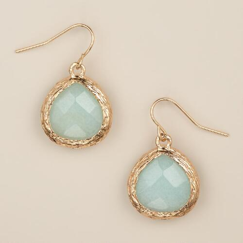 Gold Faceted Aqua Agate Teardrop Earrings