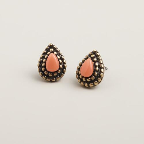 Coral Teardrop Stud Earrings