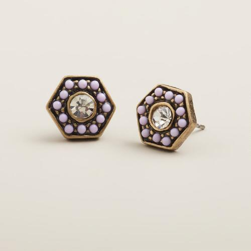 Lavender Hexagon Stud Earrings