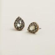 Black Diamond Stud Teardrop Earrings