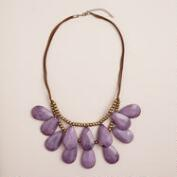 Dusty Lavender and Suede Teardrop Necklace