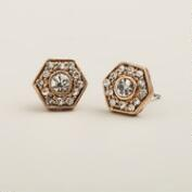 Clear Hexagon Stud Earrings