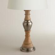 Wood and Metal Pedestal Table Lamp Base