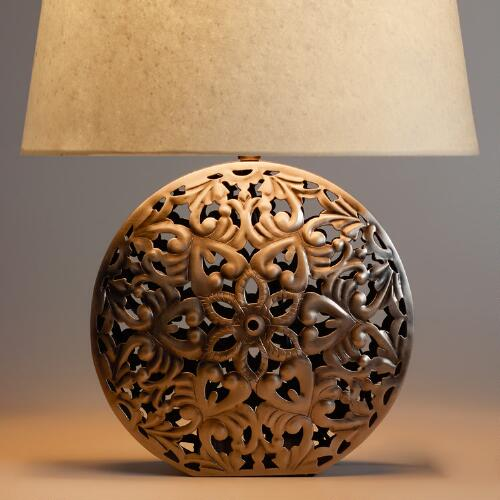 Zinc Medallion Table Lamp Base