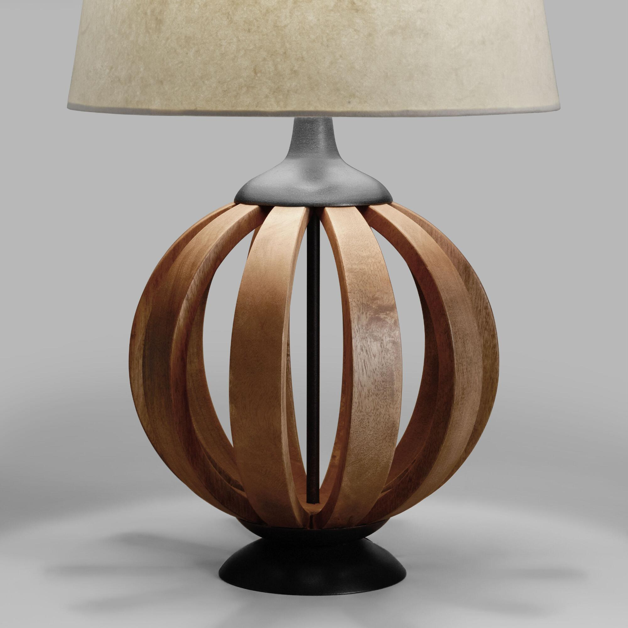 Wood barrel table lamp base world market for Lamp wooden