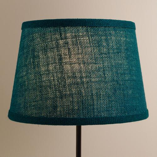 Teal Burlap Accent Lamp  Shade