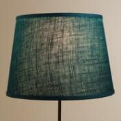Teal Burlap Table Lamp  Shade