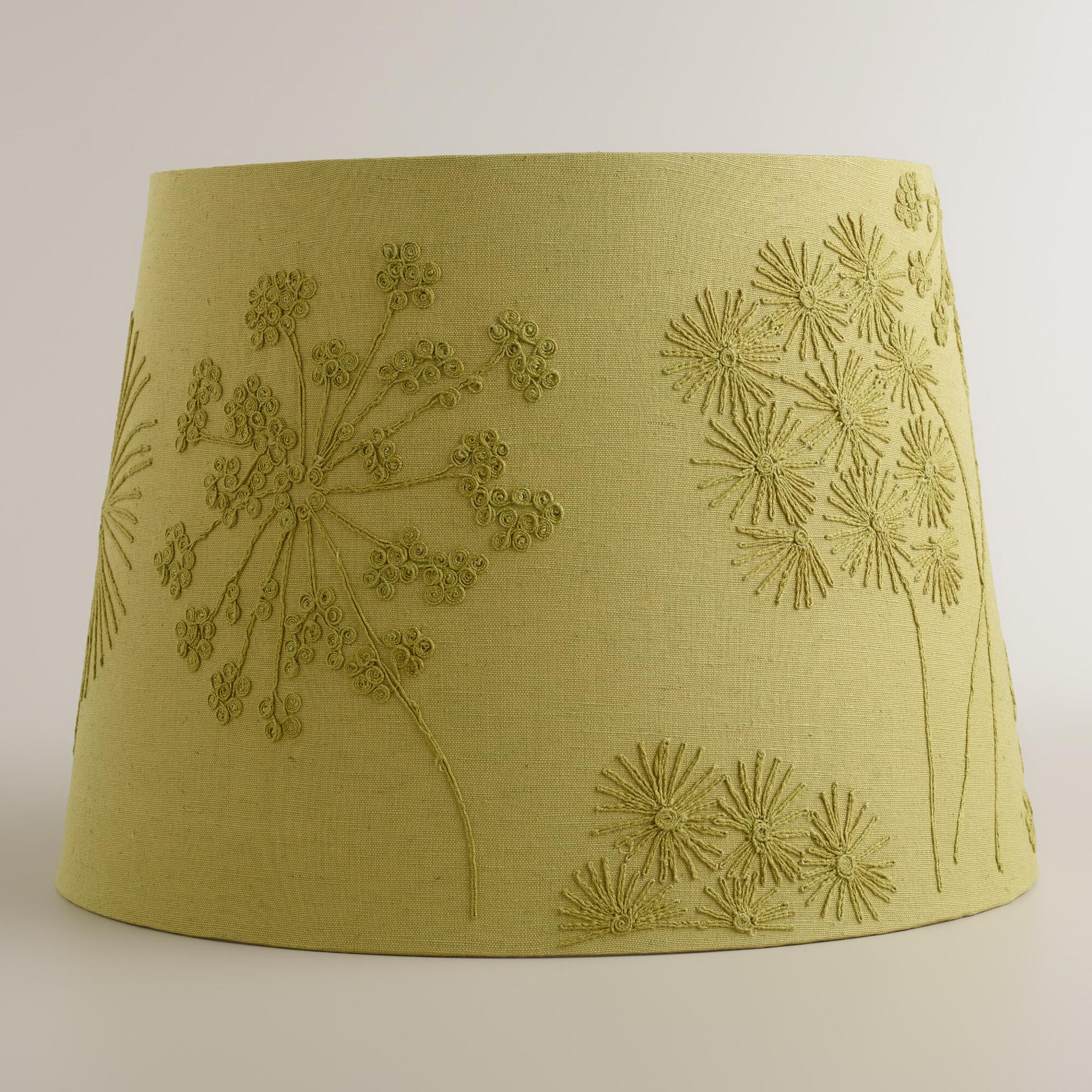 Green Blossoms Embroidered Table Lamp Shade World Market