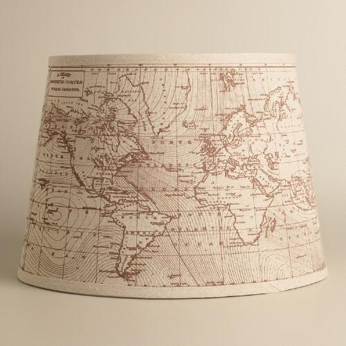Vintage World Map Table Lamp Shade