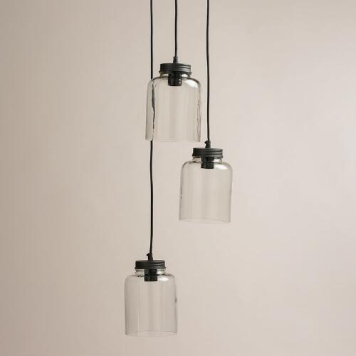 3 Jar Glass Hanging Pendant Lamp