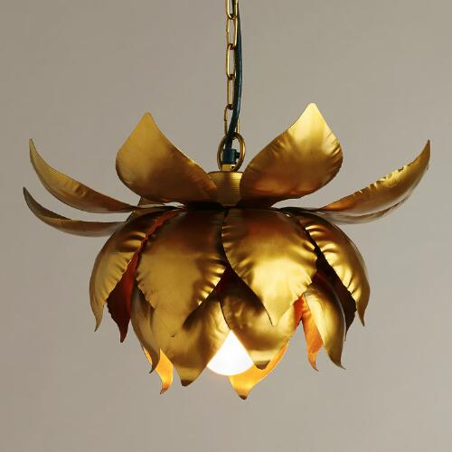 Gold Lotus Hanging Pendant Lamp