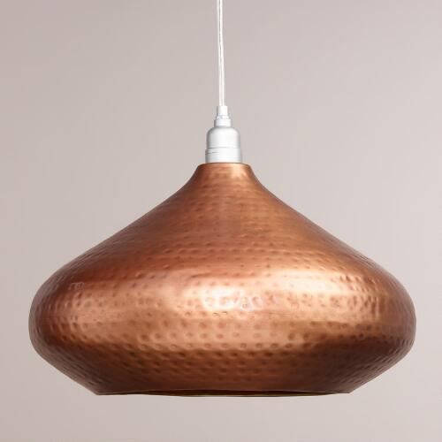 Hammered Copper Hanging Pendant Lamp