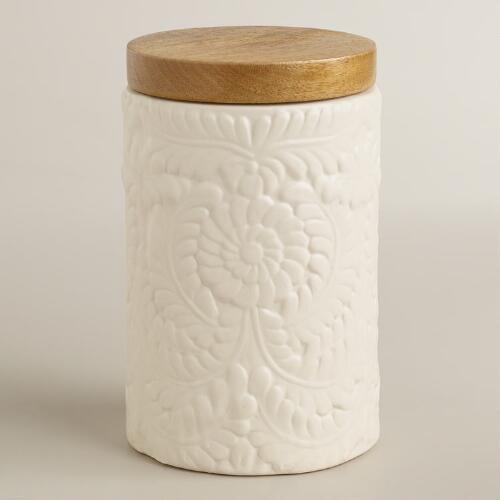 Medium Matte Ivory Floral Storage Jar