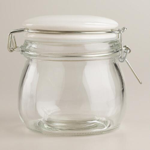 Small Glass Canister with White Clamp Lid