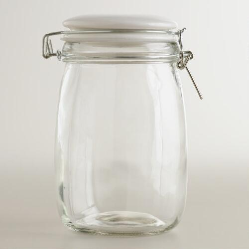 Medium Glass Canister with White Clamp Lid
