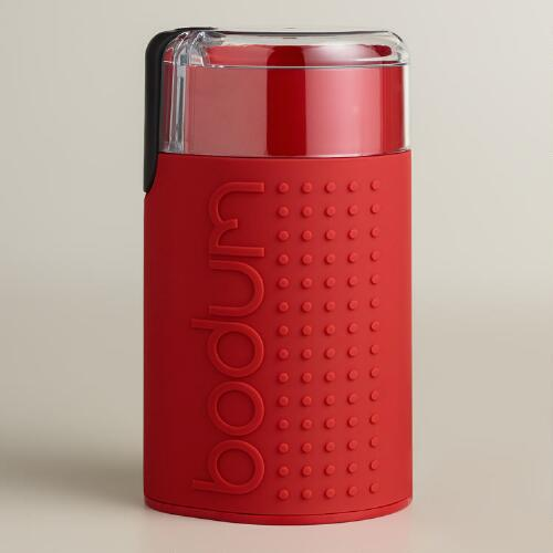 Red Bodum Bistro Electric Blade Coffee Grinder