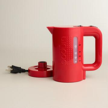 Red Bodum Bistro Electric Water Kettle