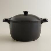 Matte Black Ceramic Flameware Soup Pot
