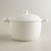 Matte White Ceramic Flameware Soup Pot