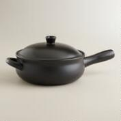 Matte Black Ceramic Flameware Saucepan