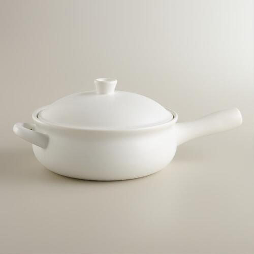 Matte White Ceramic Flameware Saucepan
