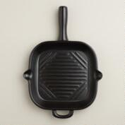 Matte Black Ceramic Flameware Skillet Griddle