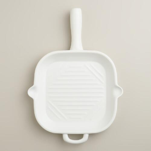 Matte White Ceramic Flameware Skillet Griddle