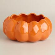 Orange Pumpkin Ceramic Open Baker