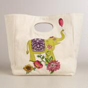 Elephant Fluf Organic Cotton Lunch Bag