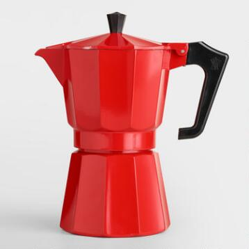 Red 6-Cup Stovetop Moka Pot Espresso Maker