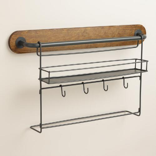 Modular Kitchen Wall Storage Spice Rack with Cup Hooks
