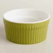 Green Ceramic Souffle Ramekins, Set of 4