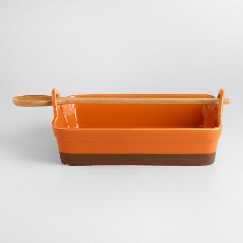 Gold Flame Rectangular Potluck Baker with Spoon