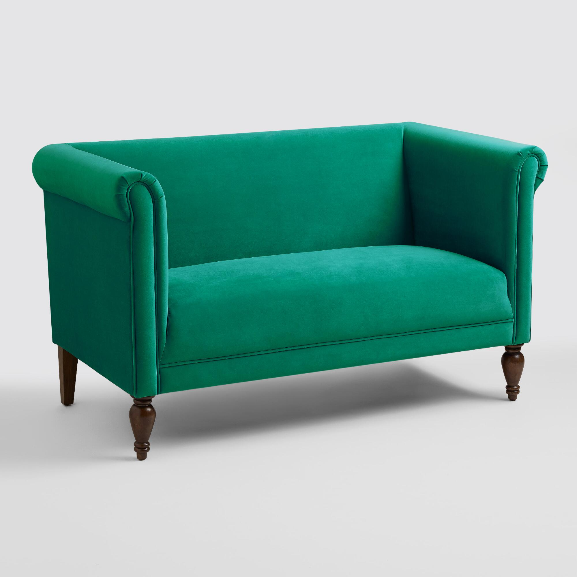World Bazar: Emerald Green Velvet Marian Loveseat