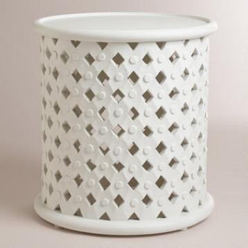 White Tribal Carved Accent Table
